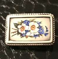 Antique Victorian Sterling Silver Enamel Floral Petite Mourning Brooch Pin