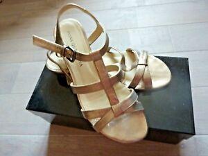 Jolies chaussures / sandales PONS QUINTANA cuir compensées mordoré P38  Val 140€