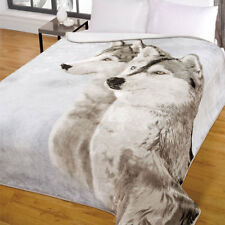 Grandi ANIMALI LUPO HUSKY visone pelliccia sint. Morbido Coperta in pile caldo 200 x 240 cm