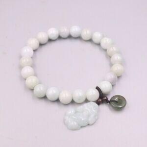 Fine Natural Green Jade Bracelet 8mmW Round Beads Pixiu Circle Charm Bracelet