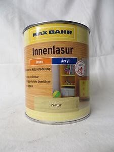 AUSVERKAUF MAX BAHR Holzlasur Innenlasur Lasur für Innen Innenbereich 8,99 €/L !