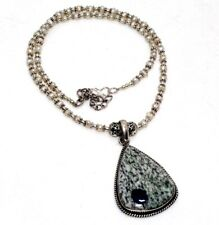 """K2 Blue Azurite Pearl 925 Sterling Silver Plated Beaded Necklace 18"""" GW"""