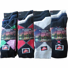 12 Pairs Mens Designer Argyle Cotton Lycra Socks Shoe Size 6-11