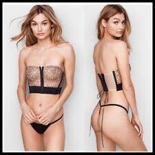 Victoria's Secret Bra Bralette Lace Strappy Sz L VERY SEXY Embroidered Bustier