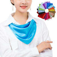 60cm Women Silk Satin Square Scarf Bandana Neckerchief Solid Color Neck Wrap