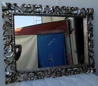 Specchio barocco in legno intarsiato cm 120x90 disp. bianco argento oro doppio f