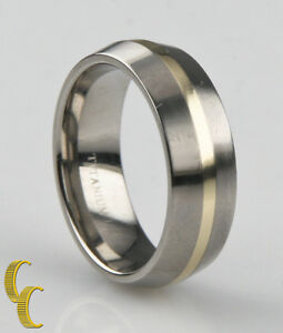 Titanium Yellow Gold 14k Wedding Band, Two Tone Beveled Edge Ring Size 8