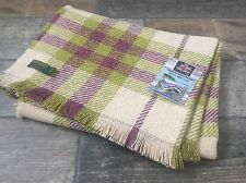 TWEEDMILL TEXTILES RECYCLED WOOL LARGE MULBERRY GREEN TARTAN CHECK BLANKET THROW