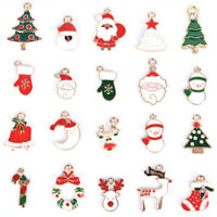 20Pcs Enamel Alloy Mixed Christmas Charms Pendant Jewelry DIY Craft Making-