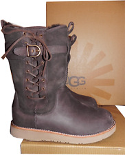 Ugg Australia Amelia Buckle Lace Up Boots Water Resistant Bootie 7-38 Brown