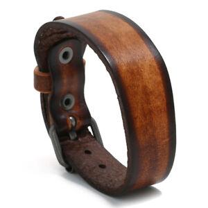 Simple Surfer Leather Cuff Bracelet Wristband Unisex Men Bangle Punk Clasp Wrap