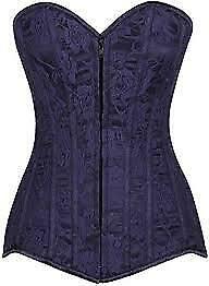 Daisy corsets Women's Plus Size Lavish Lace Overbust Corset W/Zipper, Navy Blue,