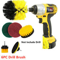 6pc Drill Brush Set Power Scrubber Drill Attachments Carpet Tile Grout Cleaning