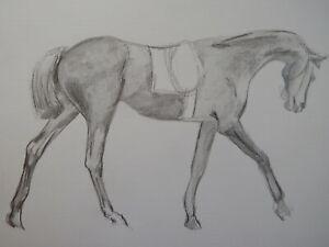 Original pencil drawing after Edgar Degas 'Saddle Horse' on paper