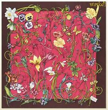 "GUCCI magenta & burgundy border INFINITY FLORA Silk 35"" Scarf NWT Authentic $440"