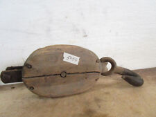 Vintage Antique Wood Block & Tackle Hoist Cable Rope Pulley