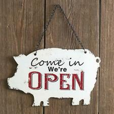 Store Open/Closed Pig Metal Sign