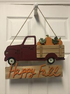 Pumpkin Vintage Red Truck Wood Old Fashion Wall Hanging Autumn Orange Happy Fall