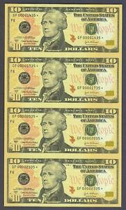 (4) UNCUT $10 2004A SCARCE/UNC Atlanta STAR Federal Reserve Notes!