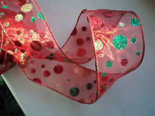 Christmas Red Green Glitter Spot Wide Decoration Wired Ribbon Cakes Gifts 1 m