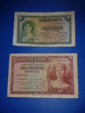 SPAIN LOTE 2 BILLETES 5 10 PESETAS REPUBLICA 1935 CIRCULADOS SIN SERIE!