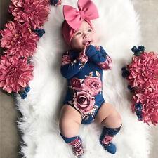 2PcsNewborn Baby Girl Floral Romper Bodysuit Jumpsuit Leg Warmer Outfits Clothes