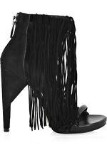 ALEXANDER WANG Dree Black Suede Leather Fringe Stiletto Platform Sandal 8/38