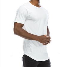 Men T-Shirt Long Extended Casual Fashion T-Shirt Basic Crew Neck Hip Hop Tee New