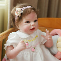 "22"" Lifelike Handmade Reborn Silicone Babies Girl Doll Toddler Soft Body Doll"