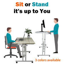 Mobile Stand Up Desk Height Adjustable Home Office Dining Potted Plant Display