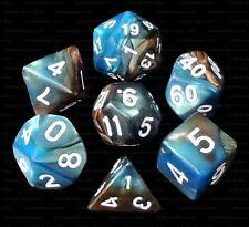 New 7 Piece Blue Copper Gemini Polyhedral Dice Set – Brown Bag – RPG D&D