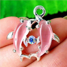 27x24x4mm Pink Cat Eye Gemstone Dolphin Pendant Bead AP19585