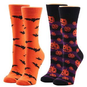 Bat Pumpkin Cartoon Socks Men Knee-High Socks Halloween Cosplay Cotton Crew SoHF
