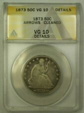 1873 Seated Half Dollar ANACS VG-10 Details Cleaned(24)