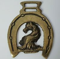 Vintage Horse Head Brass Medallion With Long Mane