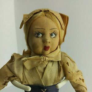 """9"""" Lenci? Style 1930's Hand Painted Cloth Hand Sewn Antique Peasant Doll  (7A1)"""