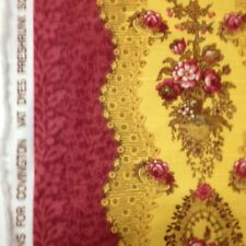 Covington burgandy gold floral print cotton fabric by the yard 2.5 yards