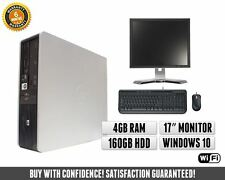 Fast Cheap HP Dual Core Computer   Monitor 17 inch   4GB   Windows 10   WIFI