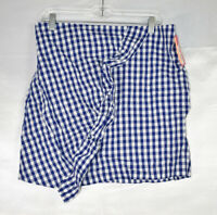 Xhilaration Women's Check Print Faux-Wrap Mini Skirt, Blue, Size XL, $20, NwT