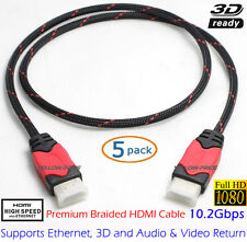 Premium Certified Braided 5-Pack 3ft HDMI Cable Cord for PC to HDTV Audio Video