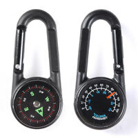 KQ_ Multifunctional Hiking Metal Carabiner Mini Compass + Thermometer + Keychain