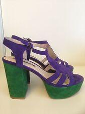 Vintage style suede platform heels Size 9
