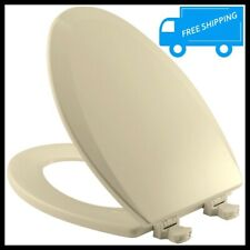 Almond Lift Off Elongated Toilet Seat Closed Front Wood Lid Bathroom Bowl Cover