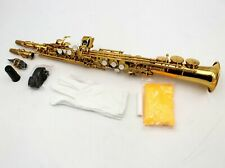 Eastern music gold lacquer straight Soprano Saxophone with two necks