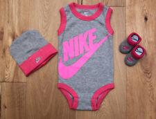 Nike Baby Girl Hat, Sleeveless Bodysuit & Booties Set ~ Gray & Pink ~ 0-6M