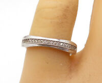 925 Sterling Silver - Vintage Petite Round Cut Topaz Band Ring Sz 9 - R16722