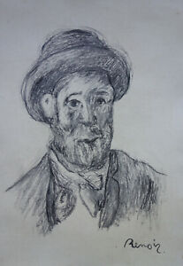 Fine rare Impressionist drawing  – portrait, signed Renoir, marked on verso