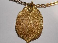 Vintage FLORA DANICA Eggert DENMARK 24k Yellow Gold Over LEAF Pendant NECKLACE