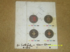 Duran Duran cardboard page of 4 prototypes for buttons (early '80's) {Vg shape}