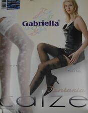 Halterlose  Damenstrümpfe mit Muster schwarz 20 DEN Gr. S-M 1-2 von Gabriella